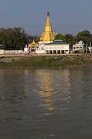 """Sagaing is one of the """"Ancient Cities"""" in the outskirts of Mandalay - Sagaing is home to about 200 pagodas and stupas and over 500 monasteries on a green hillside overlooking the Ayeyarwaddy River.  Sagaing was the ancient capital of an independent Shan kingdom in 1315 after the fall of Bagan had created a power vacuum."""