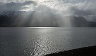 Rain passes over  Gloppenfjorden in Sandane, Norway, on Monday, May 13, 2013.   (© 2013 Cindi Christie/Cyanpixel)