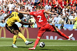June 23, 2018 - Moscow, RUSSIA - Belgium's Romelu Lukaku and Tunesia's Syam Ben Youssef fight for the ball during the second game of Belgian national soccer team the Red Devils against Tunisia national team in the Spartak stadium, in Moscow, Russia, Saturday 23 June 2018. Belgium won its first group phase game. BELGA PHOTO DIRK WAEM (Credit Image: © Dirk Waem/Belga via ZUMA Press)