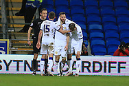 Mirco Antenucci of Leeds Utd © celebrates with teammates after he scores his teams 2nd goal. Skybet football league championship match, Cardiff city v Leeds Utd at the Cardiff city stadium in Cardiff, South Wales on Tuesday 8th March 2016.<br /> pic by  Andrew Orchard, Andrew Orchard sports photography.