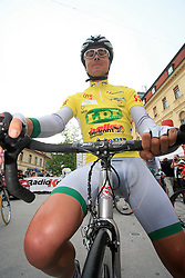 Jure Golcer of Slovenia (LPR Brakes) winner of the 15th Tour de Slovenie in yellow jersey just before start in 4th stage from Celje to Novo mesto (157 km), on June 14,2008, Slovenia. (Photo by Vid Ponikvar / Sportal Images)/ Sportida)