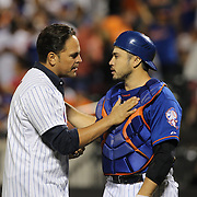 New York Mets legend Mike Piazza with catcher Travis d'Arnaud after throwing out the first pitch during the New York Mets Vs New York Yankees MLB regular season baseball game at Citi Field, Queens, New York. USA. 20th September 2015. Photo Tim Clayton