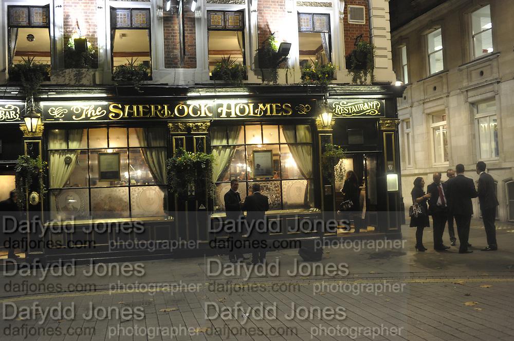 Sherlock Holmes pub. Charing Cross. London.<br /> <br />  , -DO NOT ARCHIVE-© Copyright Photograph by Dafydd Jones. 248 Clapham Rd. London SW9 0PZ. Tel 0207 820 0771. www.dafjones.com.