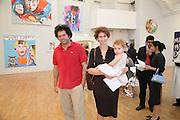 Jasper Joffe, Alba and Rose Gibbs. Stella Vine paintings. Modern art Oxford. 17 July 2007.  -DO NOT ARCHIVE-© Copyright Photograph by Dafydd Jones. 248 Clapham Rd. London SW9 0PZ. Tel 0207 820 0771. www.dafjones.com.