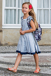Princess Josephine of Denmark poses outside Amalienborg palace in Copenhagen, Denmark, on Tuesday August 15, 2017. Prince Vincent and Princess Josephine, both born in 2011, begin in grade 0 at Tranegard School in Hellerup on Tuesday. The twins are the youngest children of the crown princely couple. Photo by Robin Utrecht/ABACAPRESS.COM