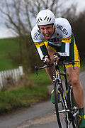 United Kingdom, Finchingfield, Mar 27, 2010:  Alex Eason, Chelmer CC, approaches the 4 miles to go marker during the 2010 edition of the 'Jim Perrin' Memorial Hardriders 25.5 mile Sporting TT promoted by Chelmer Cycling Club. Copyright 2010 Peter Horrell.