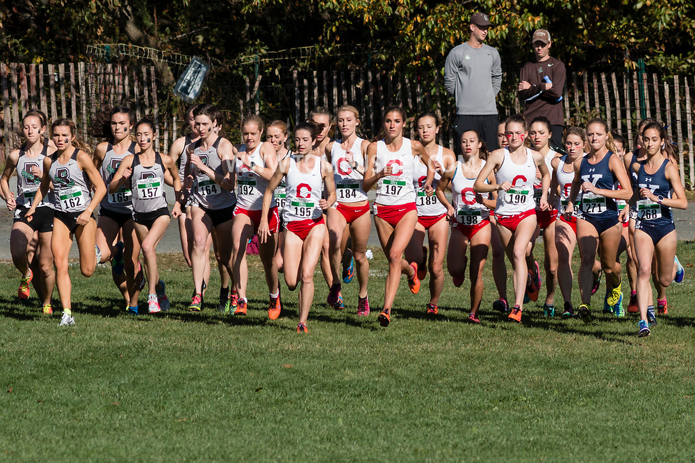 New York, New York - Runners take off at the start of the Ivy League Heptagonal women's<br /> cross country championship meet at Van Cortlandt Park in the Bronx on Oct. 26, 2017.