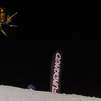 Tom Wallish from United States of America performs his trick during the freestyle skiing competition held on the 35 meters high artificial ski jumping ramp on the Monster Energy Fridge Festival in central Budapest, Hungary on November 12, 2011. ATTILA VOLGYI