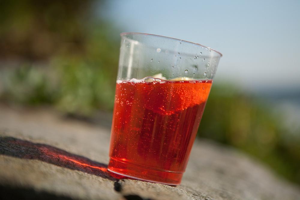 Campari and soda on the rocks, Little Compton, Rhode Island.