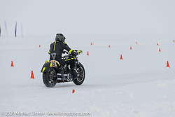 Oleg Goryunov riding his Indian Scout ice racer at the Baikal Mile Ice Speed Festival. Maksimiha, Siberia, Russia. Thursday, February 27, 2020. Photography ©2020 Michael Lichter.