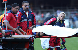 Cheslin Kolbe of the Stormers is stretchered off during the Super Rugby match between the DHL Stormers and the Toyota Cheetahs held at DHL Newlands rugby stadium in Newlands, Cape Town, South Africa on the 28th May 2016<br /> <br /> Photo by: Ron Gaunt / SPORTZPICS