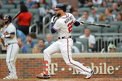 May 15, 2018 - Atlanta, GA, U.S. - ATLANTA, GA Ð MAY 15:  Braves outfielder Nick Markakis (22) drives the ball to the outfield during the game between Atlanta and Chicago on May 15th, 2018 at SunTrust Park in Atlanta, GA. (Photo by Rich von Biberstein/Icon Sportswire) (Credit Image: © Rich Von Biberstein/Icon SMI via ZUMA Press)