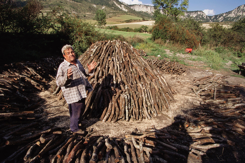 Man making charcoal in the traditional way in Viloria. They pile seasoned oak logs into a pyramid, cover it with earth and slowly monitor its burning for several days to make charcoal.  Viloria, Navarra, Spain.
