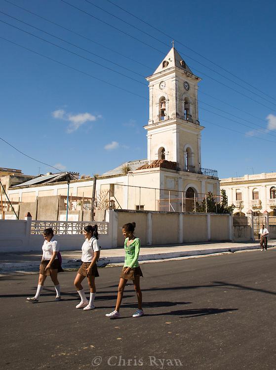 Schoolgirls in uniform, Caibarién, Cuba