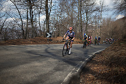 Megan Guarnier (Boels-Dolmans Cycling Team) chases the breakaway whilst riding one of the smaller climbs of the long loop of the Trofeo Alfredo Binda - a 123.3km road race from Gavirate to Cittiglio on March 20, 2016 in Varese, Italy.
