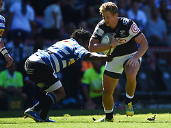 Cape Town-180929-Daniel du Preez of the Cell C Sharks tackled by Scarra Ntubeni  of the   Western Province rugby team in a Currie cup Clash at Newlands Stadium  .Photographs:Phando Jikelo/African News Agency/ANA