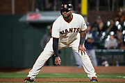 San Francisco Giants third baseman Pablo Sandoval (48) takes a lead off first base during a MLB game against the Milwaukee Brewers at AT&T Park in San Francisco, California, on August 21, 2017. (Stan Olszewski/Special to S.F. Examiner)