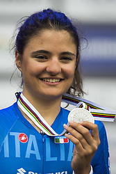 September 18, 2017 - Bergen, NORWAY - 170918  Alessia Vigilia of Italy poses with her silver medal during the medal ceremony after the Women Junior Individual Time Trial on September 18, 2017 in Bergen..Photo: Jon Olav Nesvold / BILDBYRN / kod JE / 160019 (Credit Image: © Jon Olav Nesvold/Bildbyran via ZUMA Wire)