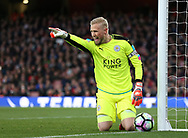 Leicester's Kasper Schmeichel in action during the Premier League match at the Emirates Stadium, London. Picture date: April 26th, 2017. Pic credit should read: David Klein/Sportimage