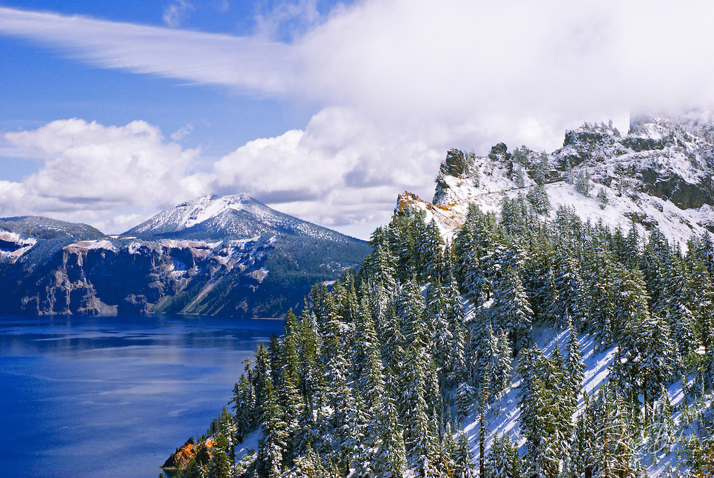 Crater Lake and the rim trail in winter (Deepest lake in the US) Crater Lake National Park, Oregon