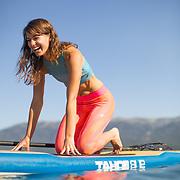 Chanel Walker SUP Yoga near Sand Harbor on Lake Tahoe.
