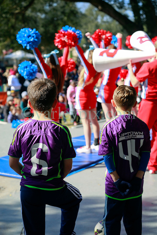 31 December 2014. New Orleans, Louisiana. <br /> Ben and Connor appear on stage at the 'Zoo Year's Eve' celebration at Audubon Zoo for the New Orleans Jesters to promote the Big Easy Sportsplex. <br /> Photo; Charlie Varley/varleypix.com