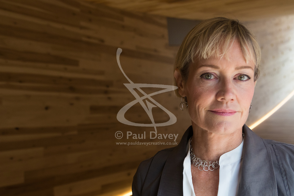 The Smile, an art installation designed by architect Alison Brooks is the world's first 'mega tube made from wood', a landmark project for the London Design Festival, is unveiled at Chelsea Art College in London. PICTURED: Creator of The Smile, architect Alison Brooks. ©Paul Davey<br /> FOR LICENCING CONTACT: Paul Davey +44 (0) 7966 016 296 paul@pauldaveycreative.co.uk