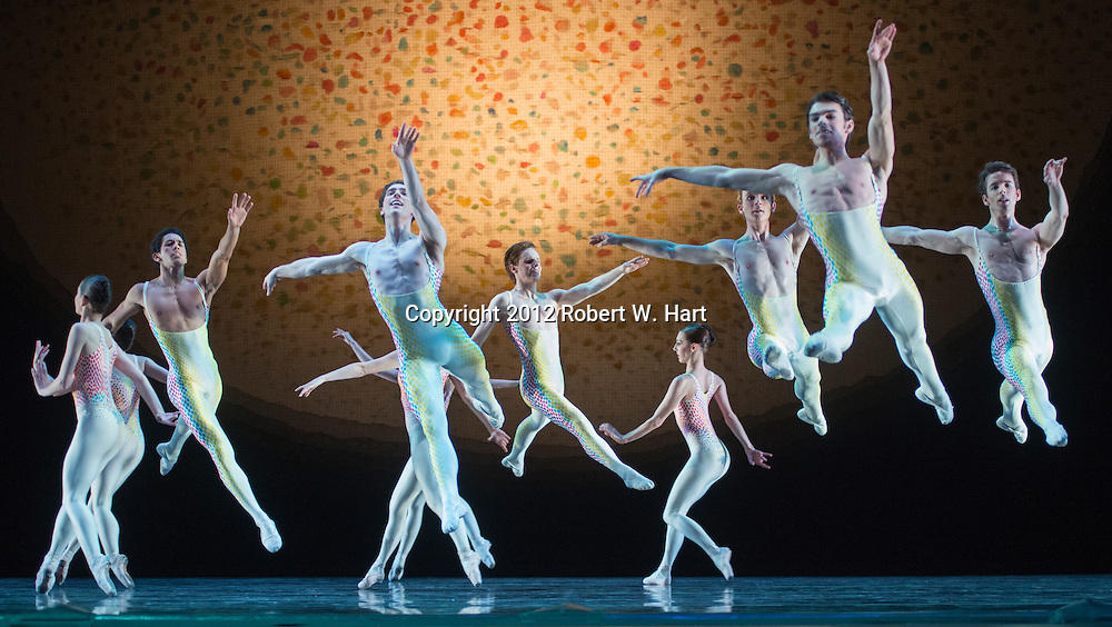 """Texas Ballet Theater performs Glen Tetly's """"Voluntaries"""" during a dress rehearsal on February 28, 2013 at Bass Performance Hall in Fort Worth, Texas"""