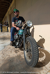 """Rod """"Grimey"""" Davis on his Harley-Davidson Knucklehead at the Biltwell Bash at Robison's Cycles during the Daytona Bike Week 75th Anniversary event. FL, USA. Friday March 11, 2016.  Photography ©2016 Michael Lichter."""