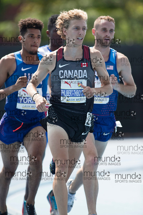 Toronto, ON -- 12 August 2018: Charles Philibert-Thiboutot (Canada), 1500m final at the 2018 North America, Central America, and Caribbean Athletics Association (NACAC) Track and Field Championships held at Varsity Stadium, Toronto, Canada. (Photo by Sean Burges / Mundo Sport Images).