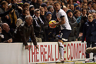 Kyle Walker of Tottenham Hotspur collects the ball from a fan during the 2nd half as he prepares for a throw-in. Barclays Premier league match, Tottenham Hotspur v West Ham Utd at White Hart Lane in London on Sunday 22nd November 2015.<br /> pic by John Patrick Fletcher, Andrew Orchard sports photography.