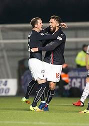 Falkirk's Lee Miller cele scoring their first goal. Falkirk 3 v 1 St Mirren, Scottish Championship game played 3/12/2016 at The Falkirk Stadium.