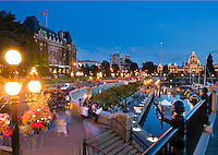 The Inner Harbour of Victoria is a picturesque walkway along the water, framed by the BC Legislative Assemby building and the Empress Hotel.