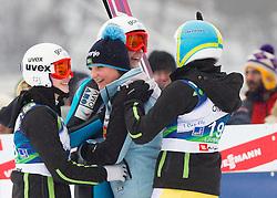 Spela Rogelj, Katja Pozun, Manja Pograjc and Ursa Bogataj of Slovenia during Normal Hill Individual Competition at FIS World Cup Ski jumping Ladies Ljubno 2012, on February 11, 2012 in Ljubno ob Savinji, Slovenia. (Photo By Vid Ponikvar / Sportida.com)