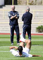 Photo: Chris Ratcliffe.<br />England training session. 07/06/2006.<br />Sven Goran Eriksson and Tord Grip watch Theo Walcott warming up, as their last chance for glory with England looms.