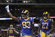 Rams wide receiver Josh Reynolds #83 celebrates scoring a touchdown during the NFL game between Cincinnati Bengals and LA Rams at Wembley Stadium in London, United Kingdom. 27 October 2019