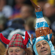 A Scottish fan (left) and Argentinian fan action during the Argentina V Scotland, Pool B match at the IRB Rugby World Cup tournament. Wellington Regional Stadium, Wellington, New Zealand, 25th September 2011. Photo Tim Clayton...