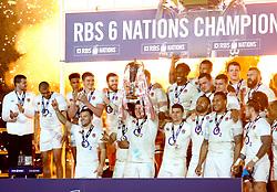 Dylan Hartley of England raises the 6 Nations trophy - Mandatory by-line: Ken Sutton/JMP - 18/03/2017 - RUGBY - Aviva Stadium - Dublin,  - Ireland v England - RBS 6 Nations