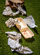 Discarded Fast Food Wrappers on Ground