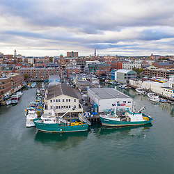 Aerial view of the waterfront in Portland, Maine.