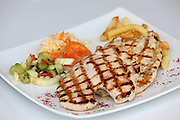 Char Grilled Chicken breast with french fries and salad