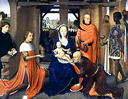 Jans Floreins Triptych, 1470s. Oil on panel.  Hans Memling (1430/1440-1494) South Netherlandish painter.  Central panel of the Adoration of the Magi.  Virgin Mary in blue holds infant Jesus while magus kisses his foot. Joseph holds gift.