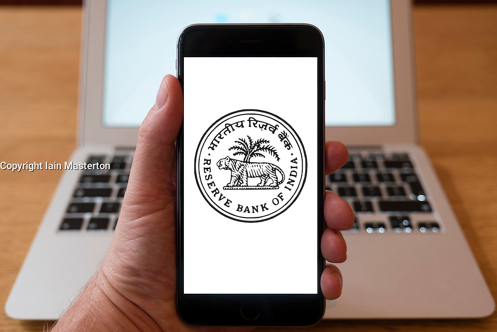 Using iPhone smart phone to display website logo of Reserve Bank of India