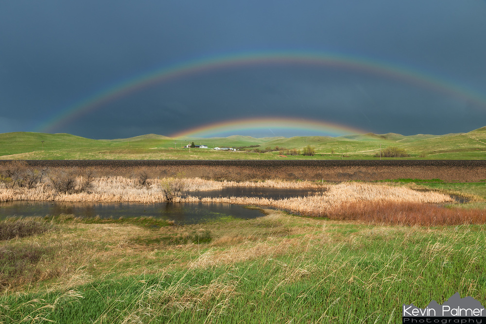 This double rainbow appeared in a receding rain shower near Parkman. It later became a supernumerary rainbow. But I'm not sure what it's called when all the colors seem to blend together in the middle.