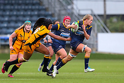 Alex Matthews of Worcester Warriors Women breaks the line, pursued by Sadia Kabeya of Wasps FC Ladies - Mandatory by-line: Nick Browning/JMP - 24/10/2020 - RUGBY - Sixways Stadium - Worcester, England - Worcester Warriors Women v Wasps FC Ladies - Allianz Premier 15s