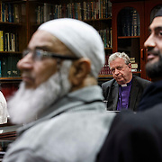 The Moderator of the General Assembly, Rt Rev John Chalmers (3rd left) , makes a visit to Glasgow Central Mosque to tie in with Islam Awareness Week (IAW). Received by the Imam of Glasgow Central Mosque Imam Habib Rauf  (1st left) and members of the Mosque management and members of IAW coordination committee. Picture Robert Perry 20th March 2015