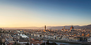 Panoramic view of Florence, Tuscany, Italy including the Duomo, Ponte Vecchio, Palazzo Vecchio and the river Arno seen from Piazzale Michelangelo.<br /> Picture date: Saturday February 23, 2019.Photograph by Christopher Ison ©<br /> 07544044177<br /> chris@christopherison.com<br /> www.christopherison.com