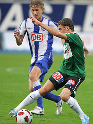 02.08.2010, Keine Sorgen Arena, Ried im Innkreis, AUT, Freundschaftsspiel, SV Josko Fenster Ried vs Hertha BSC Berlin, im Bild Fabian Lustenberger,(Hertha BSC Berlin,  Mittelfeld, #28) und Philipp Huspek,(SV Josko Ried, Mittelfeld, #25) , EXPA Pictures © 2010, PhotoCredit: EXPA/ R. Hackl / SPORTIDA PHOTO AGENCY