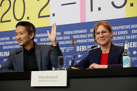 Actor Orion Lee and Director and Screenwriter Kelly Reichardt at the press conference for the film First Cow at the 70th Berlinale International Film Festival, on Saturday 22nd February 2020, Hotel Grand Hyatt, Berlin, Germany. Photo credit: Doreen Kennedy