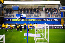 Bristol Rovers warm up in front of the cardboard cut out fans - Mandatory by-line: Dougie Allward/JMP - 03/10/2020 - FOOTBALL - Memorial Stadium - Bristol, England - Bristol Rovers v Northampton Town - Sky Bet League One